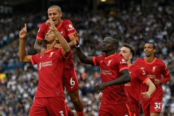 Fabinho (L) scored in Liverpool's 0-3 win at Leeds. AFP