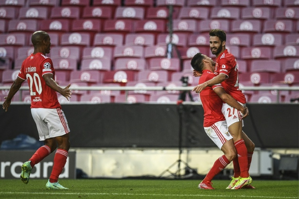 Rafa Silva gave Benfica the lead as they beat PSV 2-1 in the play-off round first leg. AFP