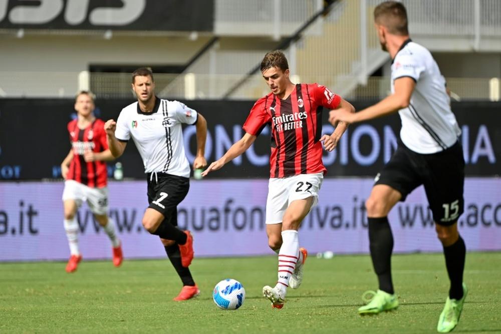 Daniel Maldini scored in his first Serie A start. AFP