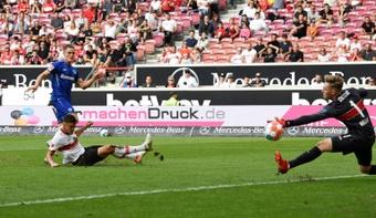Florian Wirtz scores the winner for Leverkusen's win at Stuttgart. AFP