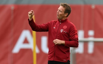 Bayern Munich head coach Julian Nagelsmann makes a point during training on Tuesday. AFP