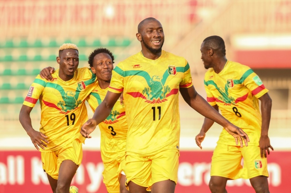 Ibrahima Kone celebrates scoring for Mali in a World Cup qualifying victory. AFP