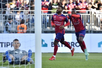 Clermonts Vital NSimba celebrates scoring the winner against Lille. AFP