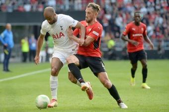 Flavien Tait, lors de la rencontre entre rennes et Tottenham. AFP