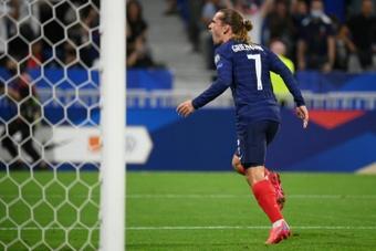 Griezmann égale Platini en tant que troisième meilleur buteur des Bleus. AFP