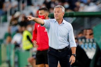 Fran Escribá valoró el punto sumado ante el Espanyol. EFE