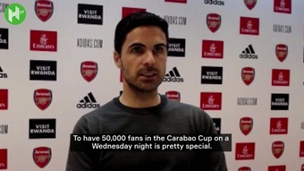 Mikel Arteta praised the Arsenal fans after victory over AFC Wimbledon. DUGOUT