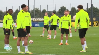 Dortmund have been training ahead of the Sporting game. DUGOUT