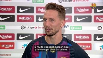 Luuk de Jong marcou seu primeiro gol pelo Barcelona. DUGOUT