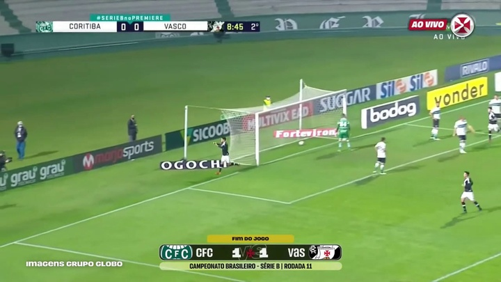 Vasco were held by Coritiba in the Brazilian second tier. DUGOUT