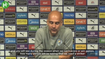 Pep Guardiola was delighted after Man City beat Arsenal 5-0. DUGOUT