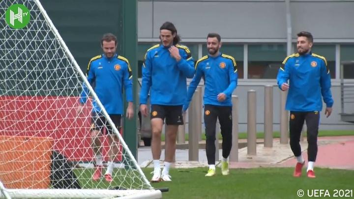 L'allenamento di Ronaldo con lo United in vista della Dea. Dugout