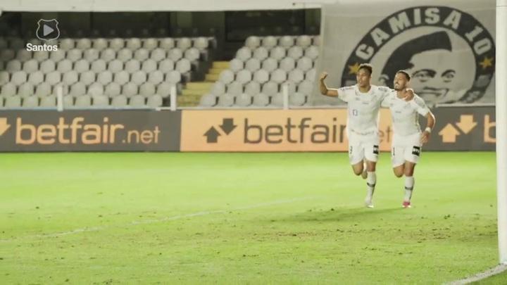 Os gols da vitória do Santos sobre o Atlético-MG. DUGOUT
