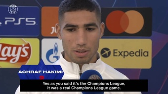 Achraf Hakimi was pleased after PSG's 3-2 win over Leipzig. DUGOUT