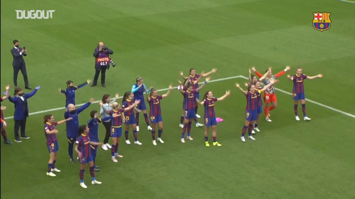 Barcelona are through to the Women's Champions League final. DUGOUT