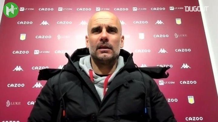 Guardiola reflects on City's win v Villa, focusing on former 'Sky Blue' Douglas Luiz. DUGOUT