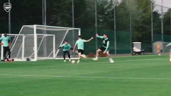 Gabriel scored a terrific goal in Arsenal training. DUGOUT
