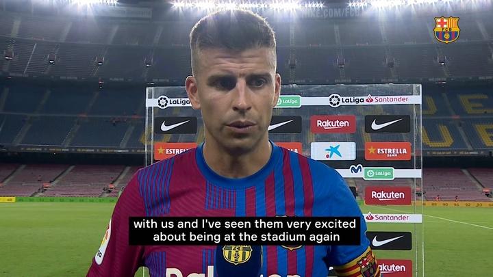 Gerard Pique spoke after Barcelona defeated Real Sociedad. DUGOUT