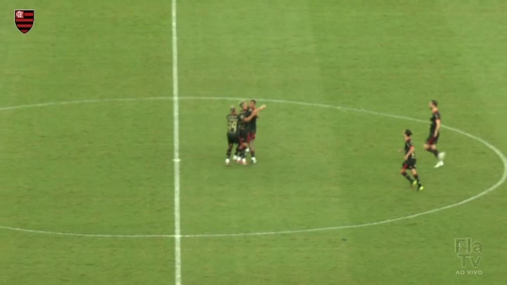 Andreas Pereira anotó el 3-1 para Flamengo. Captura/Dugout