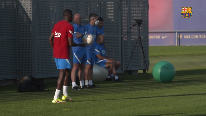 Dembele and Aguero have been training back at Barca. DUGOUT
