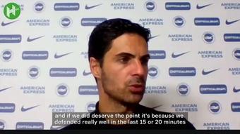 Mikel Arteta spoke after Arsenal's goalless draw with Brighton. DUGOUT