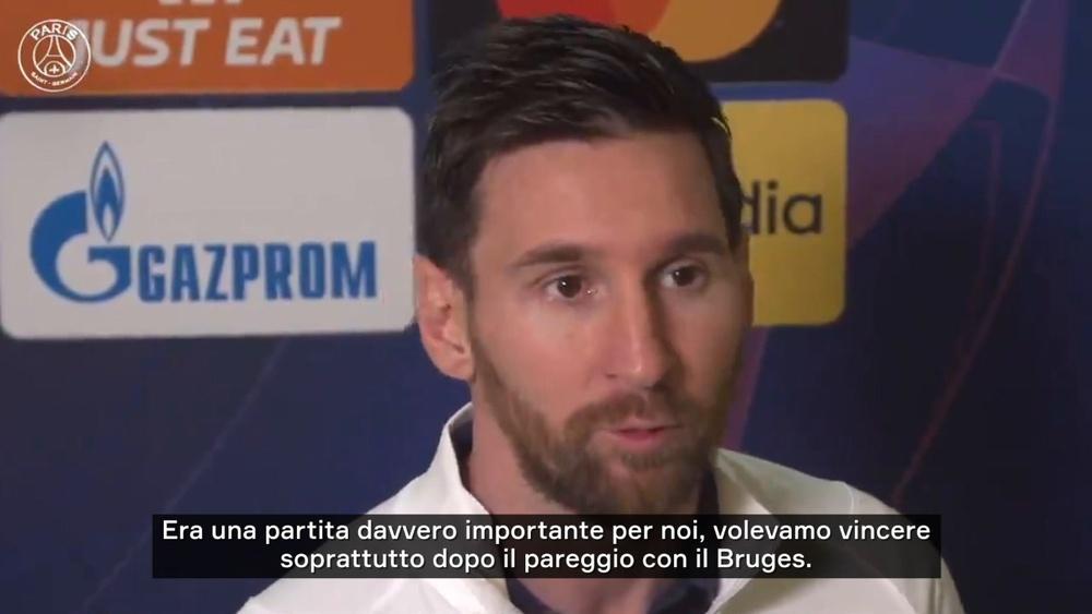 Messi commenta la rete contro il City. Dugout