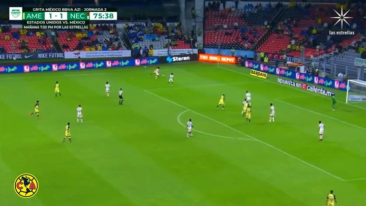 El primer gol de Fidalgo como americanista. Captura/DUGOUT