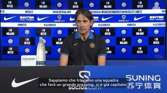 Inzaghi prima della partita contro la Lazio. Dugout