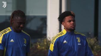 L'entraînement de la Juventus avant le Zenith. Dugout