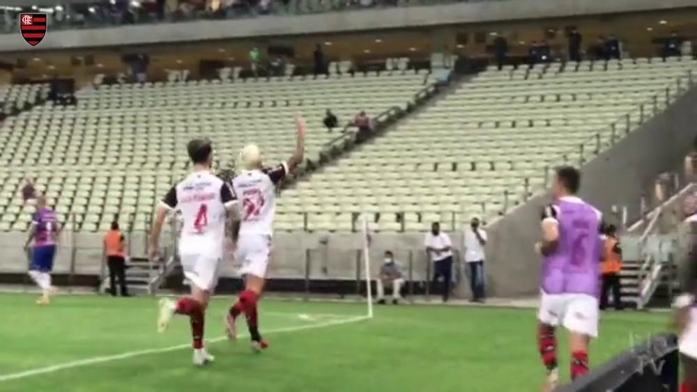 Os gols da vitória do Flamengo sobre o Fortaleza no Castelão. DUGOUT