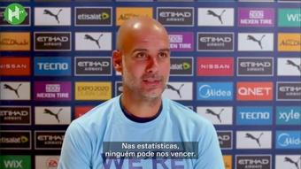 Guardiola exalta números do City, mas diz não se importar com as estatísticas. DUGOUT