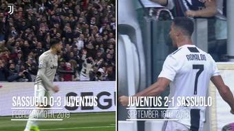 L'identico gol di CR7 e Emre Can contro il Sassuolo. Dugout
