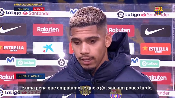 Ronald Araújo lamenta empate do Barça, apesar de gol no último minuto. DUGOUT