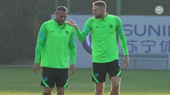 L'Inter si allena in vista della partita contro lo Sheriff. Dugout