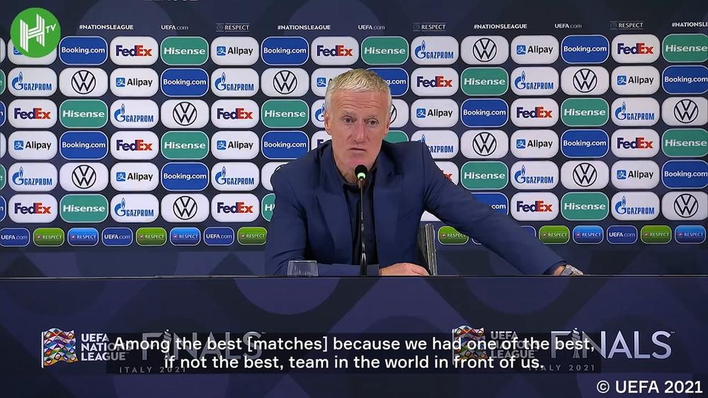 Didier Deschamps was delighted after France beat Belgium. DUGOUT