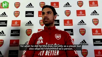 Mikel Arteta spoke ahead of Arsenal's game with Crystal Palace. DUGOUT