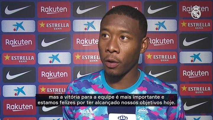 Alaba vibra por seu primeiro gol em um 'El Clásico' e enaltece defesa do Real Madrid. DUGOUT