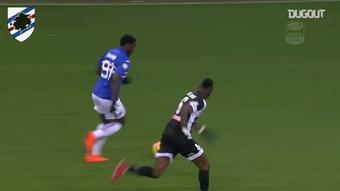 Duván Zapata segna come un fulmine contro l'Udinese. Dugout