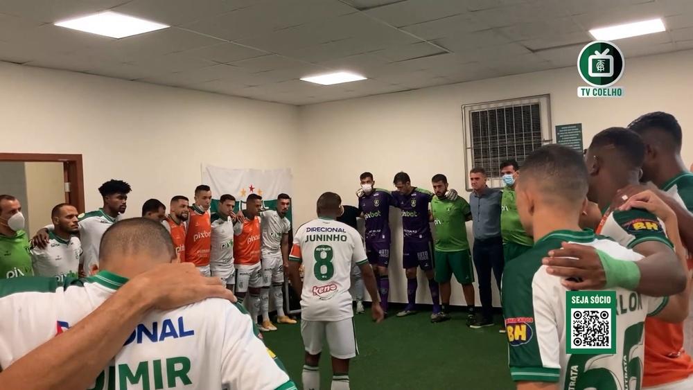 Bastidores do vestiário do América-MG antes da vitória sobre o Palmeiras. DUGOUT