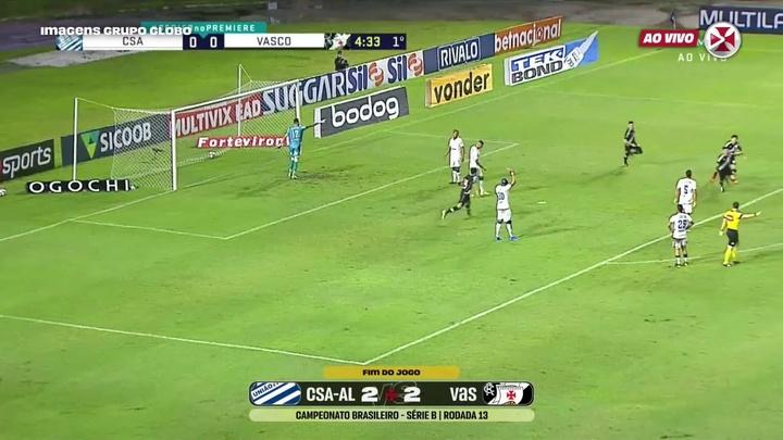 Vasco draw against CSA at Rei Pelé Stadium. DUGOUT