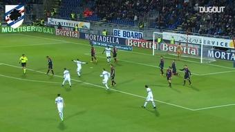 Il delizioso assist di tacco di Ramírez per Quagliarella contro il Cagliari. Dugout