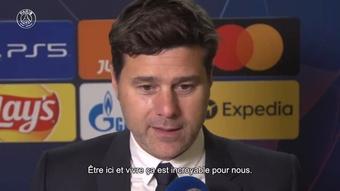 la réaction de Mauricio Pochettino après la victoire du PSG. Dugout