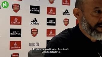 Nuno se declaró responsable del mal partido contra el Arsenal. DUGOUT