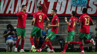 Cristiano scores a hat-trick for Portugal. GOAL
