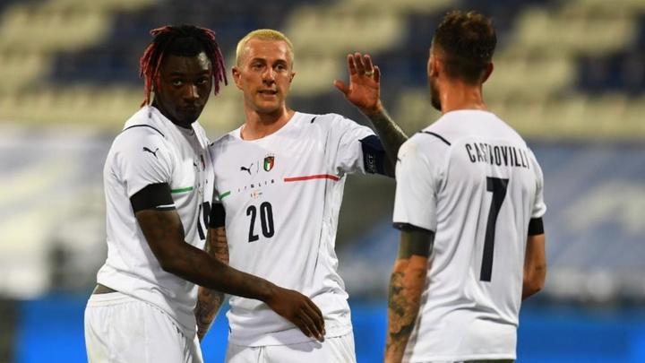 Federico Bernardeschi scored as Italy beat San Marino 7-0. GOAL