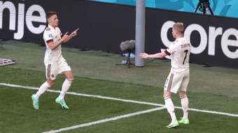 Kevin de Bruyne (R) gave Belgium a come from behind victory over Denmark. GOAL